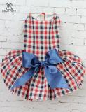 Robe de Minigaga de rouge bleu de cru pour des jupes de gilet de vêtements d'animal familier