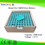 Batteria ricaricabile dello Li-ione 18650 del litio 3.7V 2500mAh per gli indicatori luminosi solari del LED