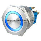 interruptor momentáneo del Anti-Vándalo del acero inoxidable 1no1nc LED del color azul de 25m m 12V