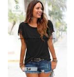 Poignets à manches courtes à grande taille européenne avec T-shirts en dentelle Tassels