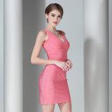 Verband-Kleid der Frauen mit Sleeveless Backless V-Stutzen Kurzschluss-Kleid