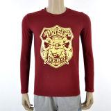 Красного Вина длинной втулки футболка с золотой дизайн печати