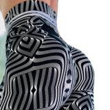 Calças de ioga Sexy Onda Metal Personalizados Impressão Digital Perneiras com elevação do quadril Perneiras elástica para as mulheres a ioga Pants