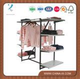 Suporte de tela de roupas personalizadas com 8 prateleiras e 2 Hangrails