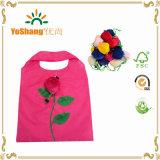 Sac à provisions pliable estampé par polyester promotionnel de forme de Rose de qualité