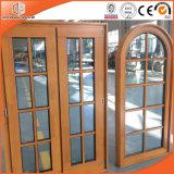 円形上の開き窓のWindowsの固体マツ木カラマツの木製の完全な分けられた軽いグリルのアルミ合金Windows