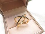 형식 보석 금 도금 다이아몬드 CZ x 교차하는 반지