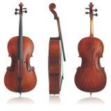 Geflammtes Cello mit Beutel und Bogen