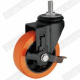 Mittleres Aufgabe PU-Gewinde-Stamm-Seiten-Bremsen-Fußrollen-Rad (orange) (G3206E)