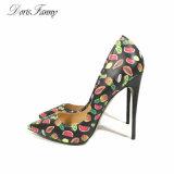 Женщина вечер обувь 2017 новой моды печать отметил высокие каблуки схождения свадебной обуви женской обуви торговой марки Dorisfanny