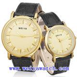 Relógio do negócio da promoção do relógio da cinta de couro com unisex (WY-1082GD)