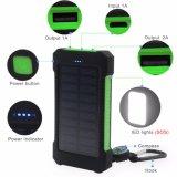 Двойные порты USB портативных мобильных смарт-телефон банка солнечного зарядного устройства 10000mAh Универсальный водонепроницаемый солнечная энергия банка для мобильных телефонов с светодиодный светильник фонарь