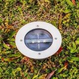 La masse de lumière solaire 3 LED lampe étanche en acier inoxydable enfouis à énergie solaire Décorations du paysage en plein air