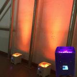세륨 4*18W 6in1 Rgbaw UV 8in1 Charing 비행 케이스를 가진 건전지에 의하여 운영하는 무선 APP LED 동위 선잠기 빛