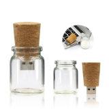 Frasco de USB de madeira Pendrive do coração que deseja a vara da memória do frasco a movimentação do flash do USB do frasco de vidro para o presente relativo à promoção