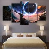 5 [بيس كنفس] فنية يشاهد معجزة كوكب حيوان الأيّل [هد] يطبع جدار فنية منزل زخرفة نوع خيش صورة زيتيّة صورة ملصقة طبعة