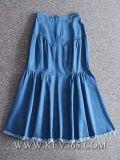 Оптовая торговля моды женщин/Дамы Джинсовые юбки поршня для хлопчатника долго дизайн
