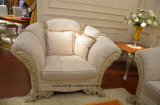 0066 solvently Wood hand Carved Lacquered Fresh White matt Color Classical Fabric sofa