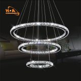 Luz colgante anillos del cristal redondo de la lámpara pendiente de tres