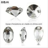Kristal van het Glas van het Ornament van het Kledingstuk van de catalogus naait het Vlakke Achter op Steen