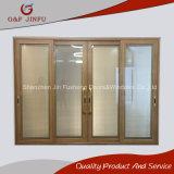 Profil en aluminium du grain du bois à double porte coulissante en verre