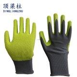 しわの乳液のコーティングポリエステル販売のための働く安全手袋