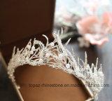 A coroa nupcial personalizada a mais nova de 2018 tiaras de vidro de cristal do presente do Natal do Rhinestone de Stonne do casamento da coroa (BC07)