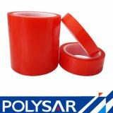 El doble echó a un lado película roja adhesiva que echó a un lado el doble industrial cinta
