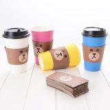 Presente plástico da promoção da luva do copo do papel bonito feito sob encomenda do urso
