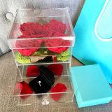 Alto rectángulo 150*150*150m m de acrílico transparente de la flor de Rose con el cajón