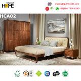 오크재 저장 서랍 (HCA05)를 가진 고아한 침실 가구 가죽 침대