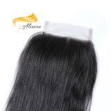 Fermeture brésilienne 4X4 de lacet de cheveu droit soyeux d'onde
