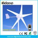 800W/1000W 바람 터빈 발전기 AC 24V/48V 5 바람 책임 관제사와 더불어 3 잎,