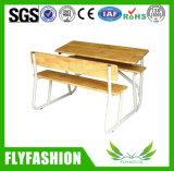 단단한 나무 학교 가구 두 배 학생 벤치 학생 책상과 의자 (SF-38D)