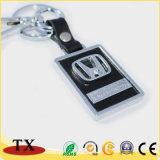 刻まれたロゴの安い昇進の金属の革キーホルダー