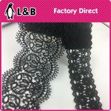 Черный шнурок полиэфира вышивки высокого качества
