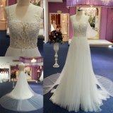 La aduana escarpada de la blusa del cordón hace el vestido de boda nupcial largo de la alineada