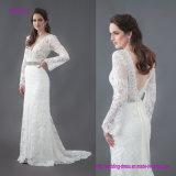 Weinlese-Spitze-Hochzeits-Kleid mit langen Hülsen und wulstigem Riemen