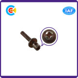 Aço de carbono 4.8/8.8/10.9 parafuso movimentador galvanizado da combinação da almofada lisa de Phillip/entalhe