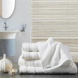100 coton blanc Dobby Serviette Serviette de bain Hotel salle de bains set de serviettes