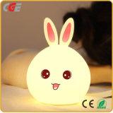 Noche de Luz LED de conejo de silicona de cambio de color dormitorio de la luz de noche