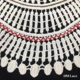 tissu blanc de lacet de collier de point de Whitework de coton de garniture d'Applique d'encolure de pistes de lacet de Venise de collier de broderie de 34*24cm beau avec la frange repérée Hm2025