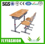 Guangzhou Double Wooden Attached School Student Set de cadeira de mesa