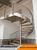 Лестница изогнутая нержавеющей сталью с деревянной проступью и лестницей деревянной проступи Railing стекла крытый