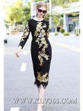 Vestito lungo da promenade del partito ricamato modo delle signore delle donne dei vestiti di progettista di alta qualità