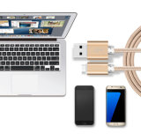 2 em 1 cabo de dados trançado do USB do relâmpago micro