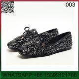 Nuevo diseño de cristal plano lentejuelas mocasines zapatos dama