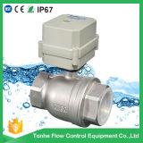 Dn50 2 robinet à tournant sphérique motorisé électrique d'acier inoxydable du contrôle Ss304 de pouce DC12/24V de la voie 2