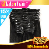 2016 Sell caldo Clip in Straight Hair Virgin brasiliano Clip in Hair Extensions Full Head Clip dentro