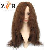 A largo ondulado de color marrón de la mujer de fibra sintética peluca